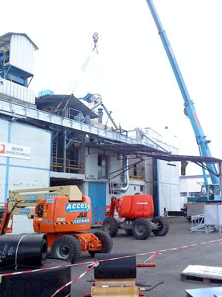 Opérations de montage-levage pour l'installation d'un convoyeur pour Euralis à Lescar (64)